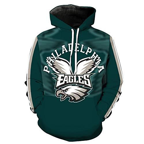 Men's Hooded Long Sleeve 3D Digital Print Philadelphia Eagles Football Team Sports Pullover ()