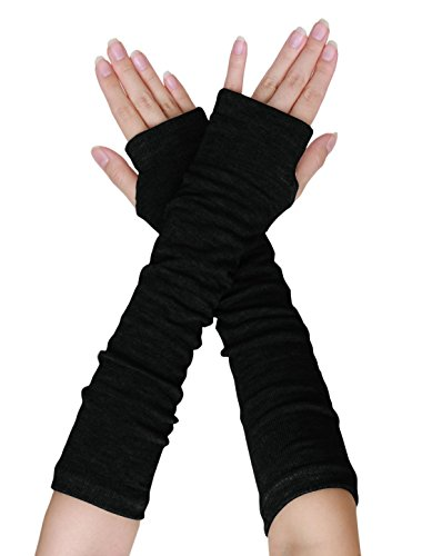 uxcell Women Elbow Length Arm Warmer Gloves Thumbhole Fingerless 1 Pairs Black -