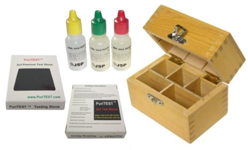 "JSP 10k/14k/18k Gold Test Acid Solutions Tester Kit Detect Metals Scrap Jewelry + Wooden Box + PRO 2x2"" Testing Stone"