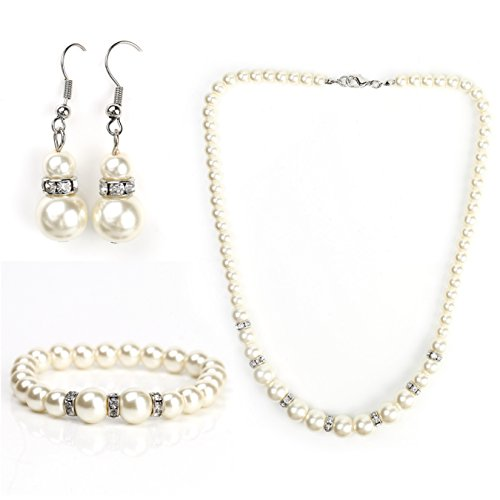 Classic Faux Pearl Set - Graduated Necklace, Drop Earrings and Coordinating Bracelet with Swarovski Style Crystals -