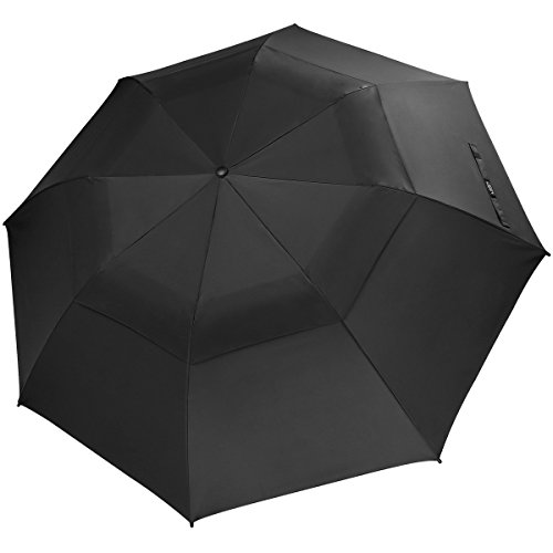 G4Free Folding Golf Umbrella 58-inch Large Windproof Double Canopy Auto Open Compact Travel Umbrellas(Black)