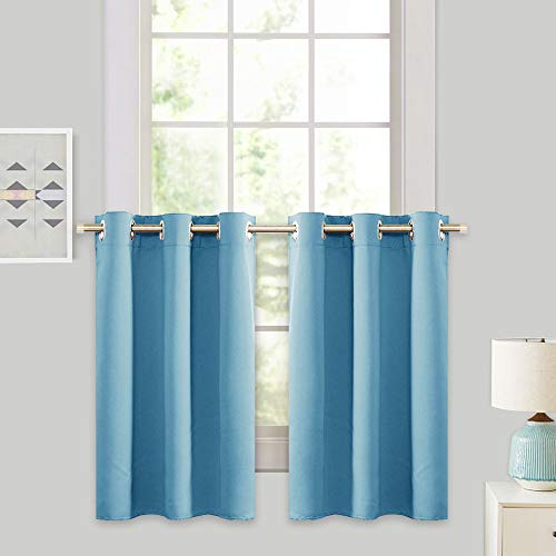 RYB HOME 36 in Blackout Tiers, Grommet Top Half Window Curtains for Kitchen, Glare Shade Light Block Panels, Window Valance for Bathroom, W 42 x L 36, Blue Mist, 2 Panels