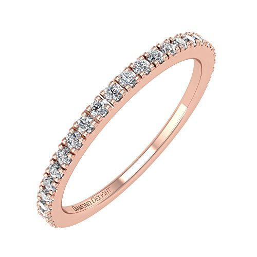 IGI Certified 10K Rose Gold Wedding/anniversary Diamond Band Ring (0.22 Carat)
