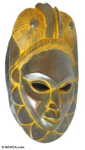 "NOVICA 114530"" Honor to Ancestors Ivoirian Wood Mask"