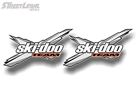 2 Grey X Team Racing 12 Decals Graphics Snowmobile Enclosed Sled Trailer Vinyl Stickers 2 6.5x 12 Decals, Grey