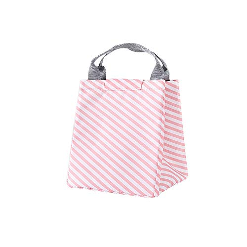(Insulated Thermal Lunch Bag Bento Box Storage Tote Cooler Carry Case Stripe Pattern Large Capacity Durable Waterproof Work Shopping Picnic Women Student Functional Food Container Handbag)