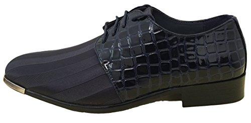 G4u-parrazo Ajy2e Hommes Robe Oxfords Chaussures Alligator Lilas Rayures Satin Argent Pointe Lace Up Classique Smoking Mariage Église Fête Plusieurs Couleurs Marine
