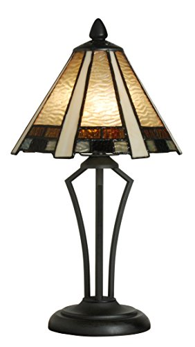 Tiffany Style Table Lamp Stained Glass Mini Small Accent Decorative Antique Lighting Coffee Table Desk Bedroom Living Room Bedside Reading Night Light Cream Blue Amber Beige White Black 14 X 8 inch