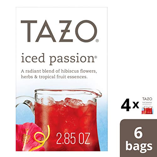 Tazo Iced Passion Herbal Tea Filterbags, 6 count (pack of 4) ()