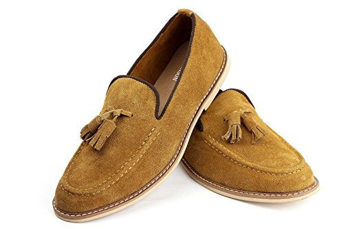 Hombre Ante Sin Cordones Elegante Borla Zapatos Casual Italiano Moderno Cuero camello