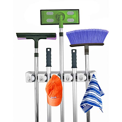 Home- It Mop and Broom Holder, 5 Position with 6 Hooks Garage Storage Holds up to 11 Tools, Storage Solutions for Broom Holders, Garage Storage Systems Broom Organizer for Garage Shelving Ideas ()