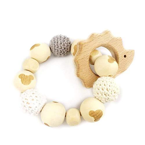 Hedgehog Wooden Teether Chew Beads Baby Rattle Teether Nattu