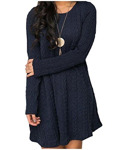 Coolred Des Femmes De Tricot Casual Couleur Pure Manches Longues Robes Minces Club Bleu Saphir