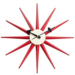 Shise George Nelson Sunburst Clock in Red, Decorative Modern Silent Wall Clock for Home, Kitchen,Living Room,Office etc. - Colorful Wooden Mid Century Retro Design(Full Range Available)
