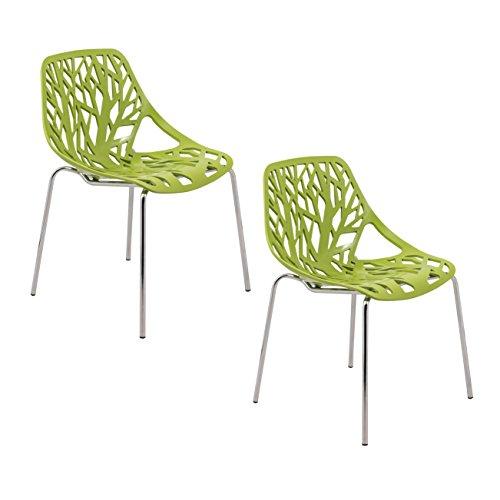 ModHaus Modern Green Stencil Birch Tree Sapling Chairs with Chrome Legs - Set of 2 Includes ModHaus Living (TM) Pen Eileen Gray Side Chair