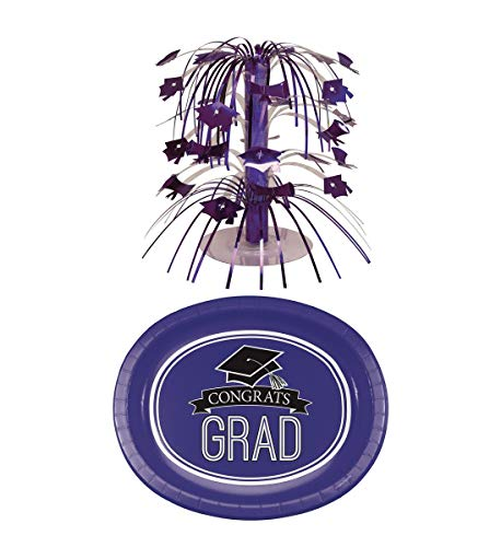 (Mozlly Value Pack - Creative Converting Mini Graduation Purple Foil Cascade Centerpiece and Congrats Grad Purple Premium Oval Paper Platter Plates (8pc Set) - Party Supplies and Decorations (2 Items))