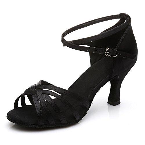 HROYL Women's Standard Latin/Modern/Samba/Chacha Dance Shoes Satin Ballroom S7-213 Black Fsxqs