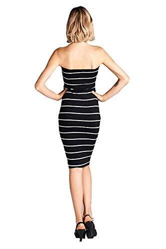 Adn Couture Mini Robe Bustier Moulante Tube De Gravures De Femmes (sélection De Nombreuses Estampes) Ainsi Que Les Tailles Disponibles À Rayures-73 (noir / Blanc)