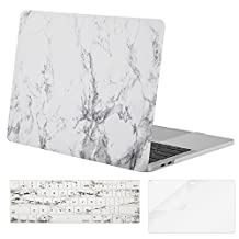 Mosiso Plastic Hard Case with Keyboard Cover with Screen Protector for Newest Macbook Pro 13 Inch with/without Touch Bar (A1706/A1708, 2017 & 2016 Release), White Marble