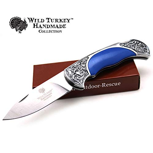 Wild Turkey Handmade Collection Old Fashioned Two Tone Lock Back Folding Knife (Blue)