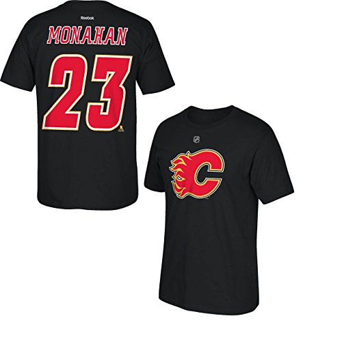 Sean Monahan Calgary Flames Black Jersey Name and Number T-Shirt XX-Large