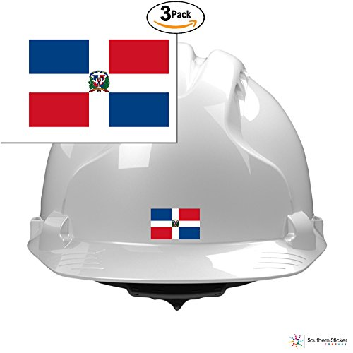 (3) country flag Dominican Republic 2x1 inches size - funny stickers for construction hard hat pro union working men lunch box tool box symbol window motorcycle biker car - Made and shipped in USA for sale