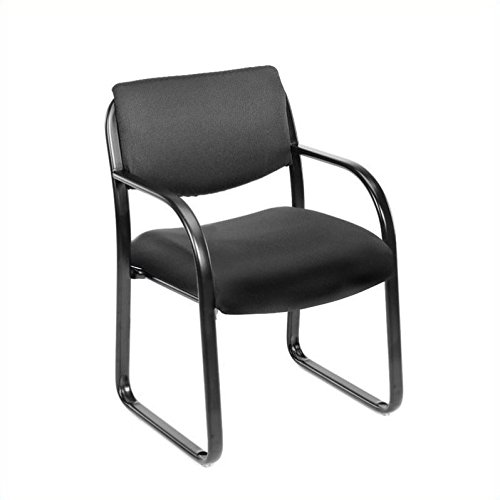 Scranton & Co Fabric Sled Base Guest Chair with Arms in Black by Scranton & Co