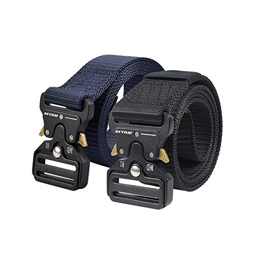 KEYNAT Tactical Belt with Cobra Buckle Quick-Release, Webbing Nylon Belt for Men Military Style Metal Buckle Heavy Duty 1.57'' for Outdoor, Casual, Sport (Black-Blue)