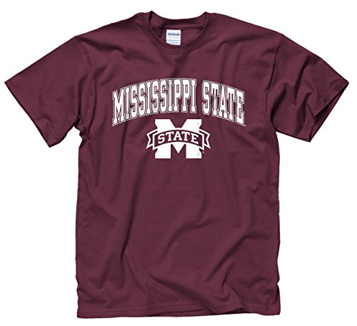 Campus Colors Mississippi State Bulldogs Adult Arch & Logo Gameday T-Shirt - Maroon, -