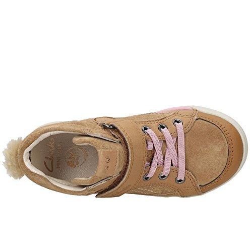 Clarks Lilfolk Boo Inf Girls Casual Boots with Pom Pom Detailing