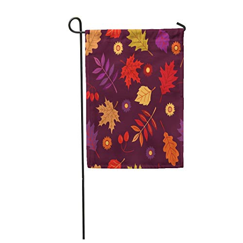 Tarolo Decoration Flag Purple The Fall Oak Maple Autumn Leaves and Flowers Briar on Tawny Port Holiday Greetings Thanksgiving Colorful Sale Thick Fabric Double Sided Home Garden Flag 12