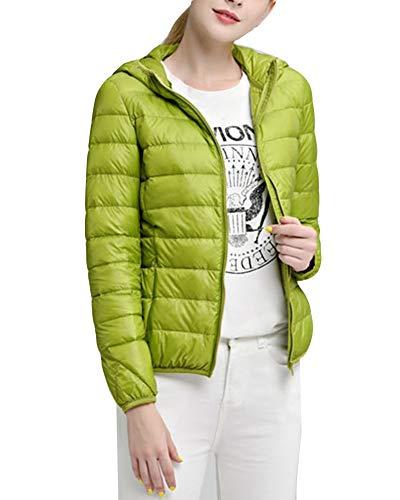 Delle Zip Packable Full Inverno Manto Di Gladiolusa Verde Jacket Incappucciati Leggero Donne Hq6zxn