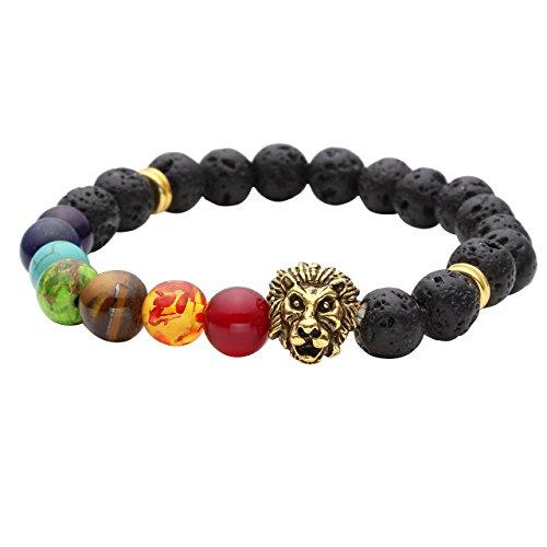 JOVIVI 7 Chakras Gemstone Bracelet Lava Stone Reiki Healing Balancing Round Beads - Lion Head