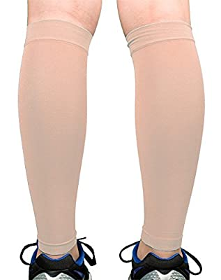Premium Calf Compression Sleeve 1 Pair 20-30mmHg Strong Calf Support 24 COLORS Graduated Pressure Sports Running Recovery Shin Splints Varicose Veins Socks Argyle 3 Skin Tones 2XL 3XL 4XL Doc Miller