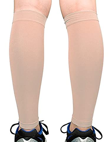 Premium Calf Compression Sleeve 1 Pair 20-30mmHg Strong Calf Support Fashionable COLORS Graduated Pressure for Sports Running Muscle Recovery Shin Splints Varicose Veins Doc Miller (Skin/Nude, - Over Calf Support