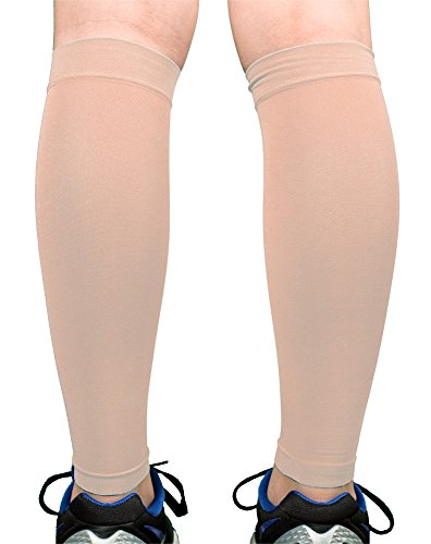 Premium Calf Compression Sleeve 1 Pair 20-30mmHg Strong Calf Support Fashionable COLORS Graduated Pressure for Sports Running Muscle Recovery Shin Splints Varicose Veins Doc Miller (Skin/Nude, Medium)