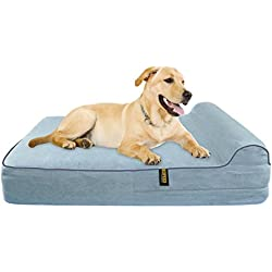 KOPEKS Extra Large 7'' Orthopedic Memory Foam Dog Bed with 3'' Pillow - Includes Waterproof Inner Protector - Grey Color