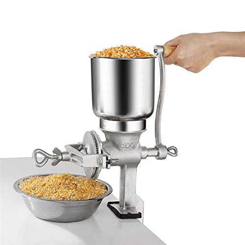 Manual Grain Corn Coffee Wheat Nuts Grinder, Portable Table Clamp Mill Maker with Wooden Handle Home Use,Cast Iron Grinding Miller ()