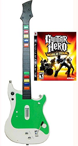 Playstation 3 PS3 Wireless Guitar Controller + Guitar Hero World Tour Video Game kit bundle set GH rock music band