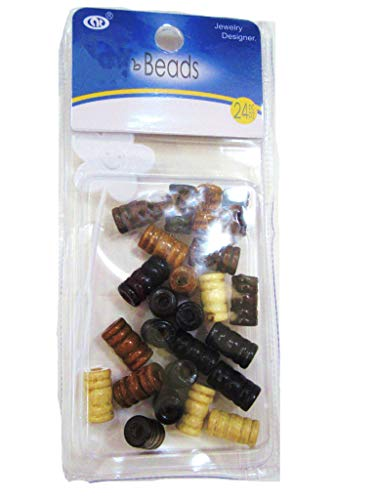 Wooden Hair Beads, Braid Dreadlock Beads, Accessories for Braids (brown)