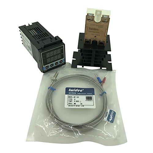 Twidec MTC48 PID Temperature controller, 90-240VAC, 0-400 °C, Input: K, Output: SSR(DC12V);K screw probe, probe lead length 2M(78.74 inches);TH-25DA SSR 25A;Black heat sink by twidec