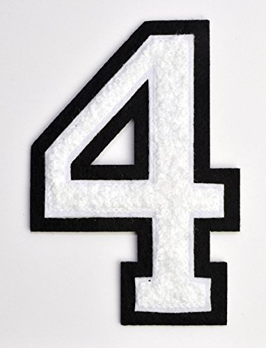 Varsity Number Patches - White Embroidered Chenille Letterman Patch - 4 1/2 inch Iron-On Numbers (White, Number 4 Patch)