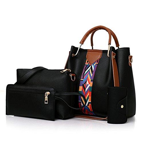 4pcs Donna Moda Spalla Crossbody Tote Kigurumi Borse Elegante A Nero Set Borsa HwtnOU5Oq
