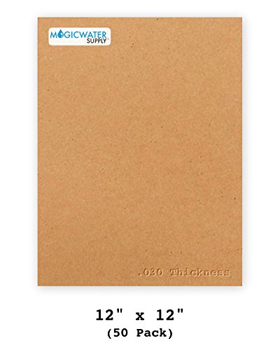 50 Chipboard Sheets 12 x 12 inch - 30pt (Point) Medium Weight Brown Kraft Cardboard for Scrapbooking & Picture Frame Backing (.030 Caliper Thick) Paper Board | MagicWater Supply