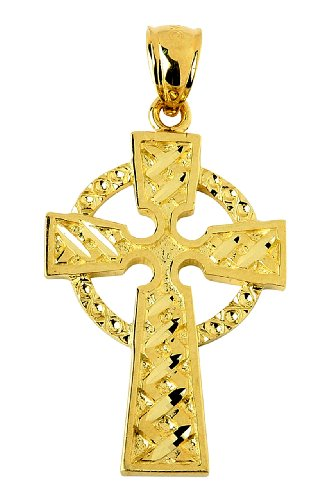 14 ct 585/1000 Or Celtiquees Croix Pendentif Or