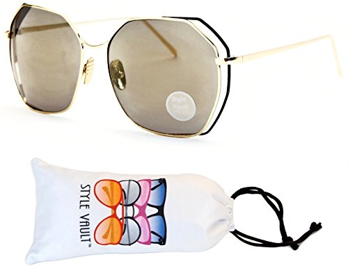 WM506-vp Butterfly Cateye Oversized Polygon Sunglasses (T2533H Gold/Black-Light Brown Mirror, - Mirror Black Brown
