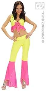 Sexy bailarina de Samba traje de luces de neón| de color amarillo / rosa| talla L