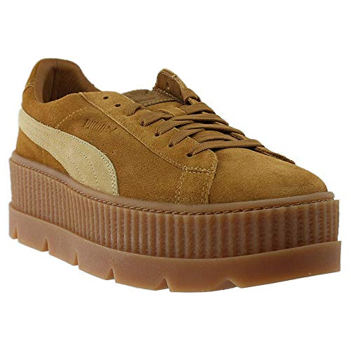 PUMA Mens Fenty Cleated Creeper Suede Casual Athletic & Sneakers Brown (Suede Shoes Men Brown Puma)