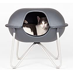 Hepper Pod Pet Bed - A Modern Design Pet Bed for Cats and Small Dogs. Grey Fabric.