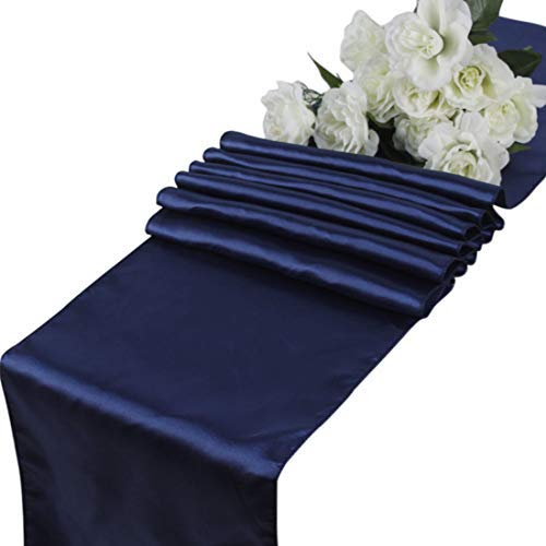 mds Pack of 10 Wedding 12 x 108 inch Satin Table Runner for Wedding Banquet Decoration- Navy Blue ()